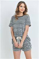 S15-7-4-PPP4022-BKWTBK-1 - AZTEC TOP AND SHORTS SET WITH SELF TIE- BLACK/WHITE/BLACK 2-2-2