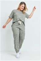 S11-16-3-PPP4024X-OTM - PLUS SIZE TWO TONED SHORT SLEEVES TOP AND JOGGERS SET WITH SELF TIE- OATMEAL 3-2-1