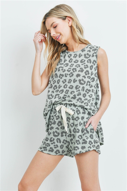 S10-18-14-PPP4025-MNTBK-1 - SLEEVELESS LEOPARD TOP AND SHORTS SET WITH SELF TIE- MINT/BLACK 2-1-2