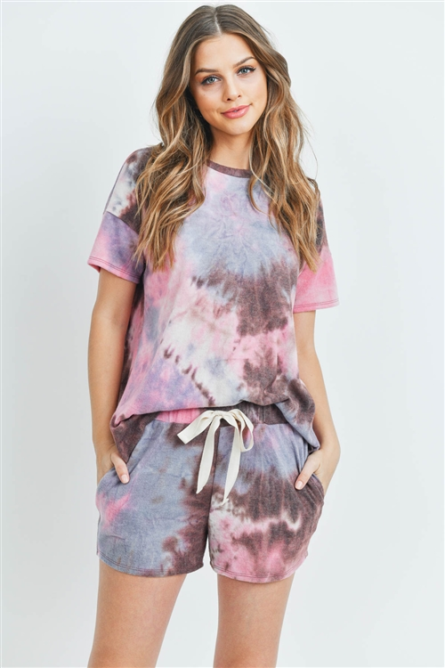 S11-12-4-PPP4026-BWNBL - TIE DYE SHORT SLEEVES TOP AND SHORTS SET WITH SELF TIE- BROWN/BLUE 1-2-2-2