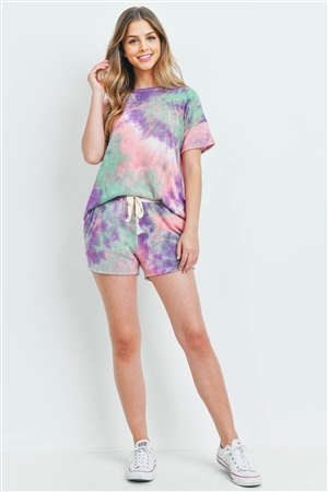 S15-11-5-PPP4026-PPLPK-1 - TIE DYE SHORT SLEEVES TOP AND SHORTS SET WITH SELF TIE- PURPLE/PINK 2-1-2