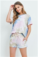 S15-7-4-PPP4027-LVDTPBL-1 - SHORT SLEEVES TIE DYE TOP AND SHORTS SET WITH SELF TIE- LAVENDER/TAUPE/BLUE 2