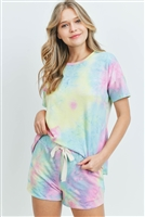 S9-9-2-PPP4027-YWJDPK - SHORT SLEEVES TIE DYE TOP AND SHORTS SET WITH SELF TIE- YELLOW/JADE/PINK 1-2-2-2