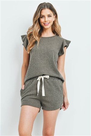 S15-8-2-PPP4028-AG-1 - RUFFLE SHORT SLEEVES TOP AND SHORTS SET WITH SELF TIE- ARMY GREEN 1-1-2