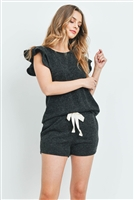 S8-10-1-PPP4028-BK - RUFFLE SHORT SLEEVES TOP AND SHORTS SET WITH SELF TIE- BLACK 1-2-2-2
