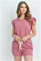 S9-13-1-PPP4028-ORC - RUFFLE SHORT SLEEVES TOP AND SHORTS SET WITH SELF TIE- ORCHID 1-2-2-2