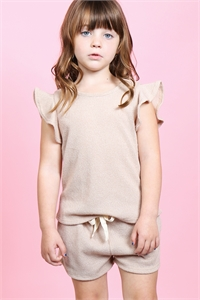 S12-9-4-PPP4028T-TP - TODDLER GIRLS RUFFLE SHORT SLEEVES TOP AND SHORTS SET WITH SELF TIE- TAUPE 2-2-2-2
