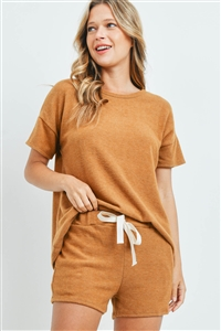 S16-12-1-PPP4029-CML-1 - SOLID TOP AND SHORTS SET WITH SELF TIE- CAMEL 0-2-2-2