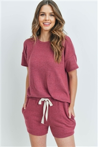 S10-15-3-PPP4029-MGT-1 - SOLID TOP AND SHORTS SET WITH SELF TIE- MAGENTA 0-2-2-2