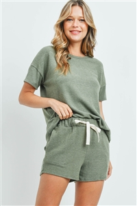 S16-12-1-PPP4029-OV-1 - SOLID TOP AND SHORTS SET WITH SELF TIE- OLIVE 0-2-2-2
