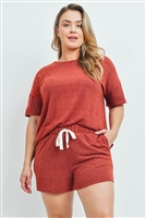 S13-9-1-PPP4029X-BRK - PLUS SIZE SOLID TOP AND SHORTS SET WITH SELF TIE- BRICK 3-2-1