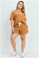 S15-7-3-PPP4029X-CML-1 - PLUS SIZE SOLID TOP AND SHORTS SET WITH SELF TIE- CAMEL 2-2-1