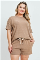 S13-9-4-PPP4029X-MC - PLUS SIZE SOLID TOP AND SHORTS SET WITH SELF TIE- MOCHA 3-2-1