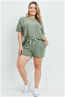 S15-7-3-PPP4029X-OV-1 - PLUS SIZE SOLID TOP AND SHORTS SET WITH SELF TIE- OLIVE 2-2-1