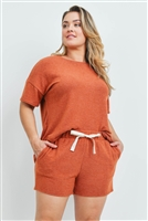 S15-7-3-PPP4029X-RST-1 - PLUS SIZE SOLID TOP AND SHORTS SET WITH SELF TIE- RUST 2-2-1