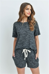 S10-16-1-PPP4030-BKCHB-1 - WAFFLE TOP AND SHORTS SET WITH SELF TIE- BLACK CHAMBRAY 0-1-1-2