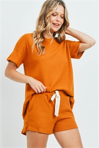 S11-18-1-PPP4030-DJ - WAFFLE TOP AND SHORTS SET WITH SELF TIE- DIJON 1-2-2-2
