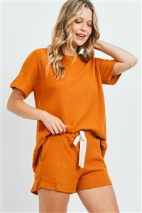 S10-15-4-PPP4030-DJ-1 - WAFFLE TOP AND SHORTS SET WITH SELF TIE- DIJON 0-1-2-2