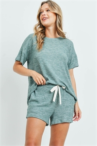 S11-15-3-PPP4030-DSTGNCHB - WAFFLE TOP AND SHORTS SET WITH SELF TIE- DUSTY GREEN CHAMBRAY 1-2-2-2