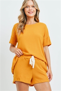S8-11-3-PPP4030-MU - WAFFLE TOP AND SHORTS SET WITH SELF TIE- MUSTARD 1-2-2-2