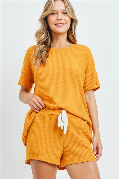 S10-16-1-PPP4030-MU-1 - WAFFLE TOP AND SHORTS SET WITH SELF TIE- MUSTARD 0-2-2-2