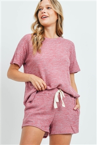SA3-4-2-PPP4030-MVSPCHB - WAFFLE TOP AND SHORTS SET WITH SELF TIE- MAUVE SPECIAL CHAMBRAY 1-2-2-2