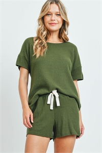 SA3-4-3-PPP4030-OV - WAFFLE TOP AND SHORTS SET WITH SELF TIE- OLIVE 1-2-2-2
