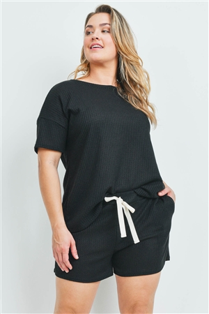 S10-4-3-PPP4030X-BK - PLUS SIZE WAFFLE TOP AND SHORTS SET WITH SELF TIE- BLACK CHAMBRAY 3-2-1