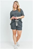 S15-2-2-PPP4030X-BKCHB-1 - PLUS SIZE WAFFLE TOP AND SHORTS SET WITH SELF TIE- BLACK CHAMBRAY 1-2-1
