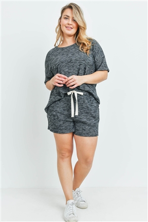 S10-8-4-PPP4030X-BKCHB - PLUS SIZE WAFFLE TOP AND SHORTS SET WITH SELF TIE- BLACK CHAMBRAY 3-2-1