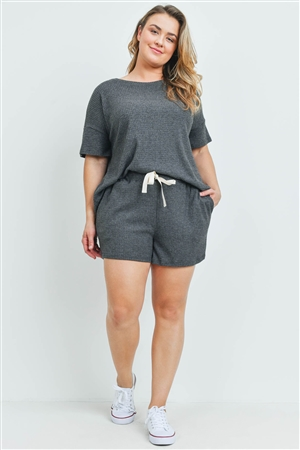 S10-6-3-PPP4030X-CHL2T - PLUS SIZE WAFFLE TOP AND SHORTS SET WITH SELF TIE- CHARCOAL 2TONE 3-2-1