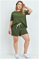 S10-4-2-PPP4030X-OV - PLUS SIZE WAFFLE TOP AND SHORTS SET WITH SELF TIE- OLIVE 3-2-1