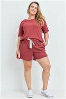 S15-2-2-PPP4030X-RBCHB-1 - PLUS SIZE WAFFLE TOP AND SHORTS SET WITH SELF TIE- RUBY CHAMBRAY 2-2-1