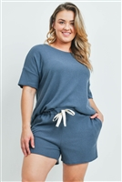 S15-2-2-PPP4030X-TLDNM-1 - PLUS SIZE WAFFLE TOP AND SHORTS SET WITH SELF TIE- TEAL DENIM 2-2-1