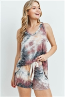 S16-12-3-PPP4031-PCHBK-1 - TIE DYE TANK TOP AND SHORTS SET WITH SELF TIE- PEACH/BLACK 2-3