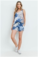 S16-12-3-PPP4031-TPTL-1 - TIE DYE TANK TOP AND SHORTS SET WITH SELF TIE- TAUPE/TEAL 1-2-1