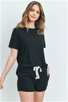 S10-2-4-PPP4033-BK - SOLID HACCI BRUSHED TOP AND SHORTS SET WITH SELF TIE- BLACK 1-2-2-2