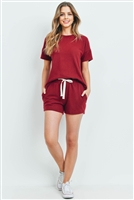 S9-18-1-PPP4033-BU-1 - SOLID HACCI BRUSHED TOP AND SHORTS SET WITH SELF TIE- BURGUNDY 2-1