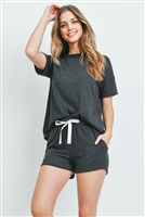 S9-18-1-PPP4033-CHL2T-1 - SOLID HACCI BRUSHED TOP AND SHORTS SET WITH SELF TIE- CHARCOAL 2TONE 2-2-1