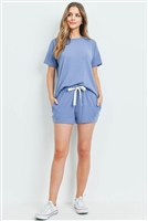S10-1-4-PPP4033-DNM - SOLID HACCI BRUSHED TOP AND SHORTS SET WITH SELF TIE- DENIM 1-2-2-2