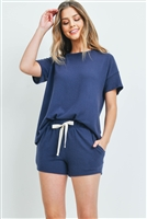 S8-2-1-PPP4033-NV - SOLID HACCI BRUSHED TOP AND SHORTS SET WITH SELF TIE- NAVY 1-2-2-2