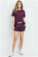 S9-18-1-PPP4033-RSN-1 - SOLID HACCI BRUSHED TOP AND SHORTS SET WITH SELF TIE- RAISIN 2-1-2