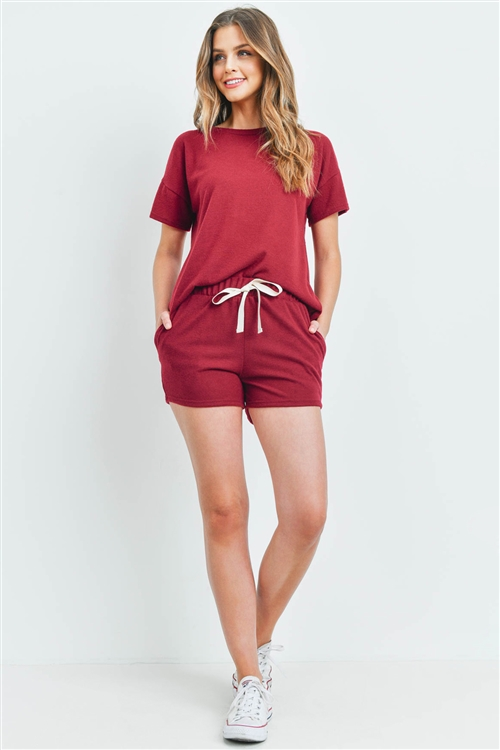 S10-15-3-PPP4033-WN-1 - SOLID HACCI BRUSHED TOP AND SHORTS SET WITH SELF TIE- WINE 2-2-2