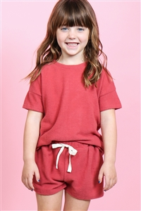 S14-9-2-PPP4033T-RST-1 - TODDLER GIRLS SOLID HACCI BRUSHED TOP AND SHORTS SET WITH SELF TIE- RUST 2-1-2