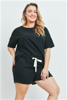 S15-11-1-PPP4033X-BK-1 - PLUS SIZE SOLID HACCI BRUSHED TOP AND SHORTS SET WITH SELF TIE- BLACK 2-1