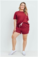 S15-11-1-PPP4033X-BU-1 - PLUS SIZE SOLID HACCI BRUSHED TOP AND SHORTS SET WITH SELF TIE- BURGUNDY 3-1