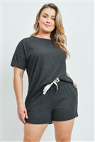 S15-11-1-PPP4033X-CHL2T-1 - PLUS SIZE SOLID HACCI BRUSHED TOP AND SHORTS SET WITH SELF TIE- CHARCOAL 2TONE 2-1-1