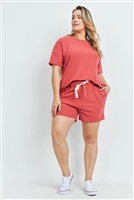 S15-11-1-PPP4033X-RST-1 - PLUS SIZE SOLID HACCI BRUSHED TOP AND SHORTS SET WITH SELF TIE- RUST 2-1-1