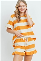S16-11-5-PPP4034-MUIV-1 - RUFFLE STRIPES TOP AND SHORTS SET WITH SELF TIE- MUSTARD/IVORY 1-1-2-1