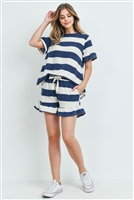 S16-11-5-PPP4034-NVIV-1 - RUFFLE STRIPES TOP AND SHORTS SET WITH SELF TIE- NAVY/IVORY 1-1-1-1